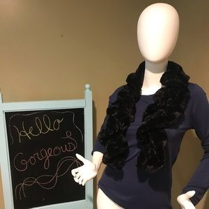 Twisted/curled springy black faux fur scarf